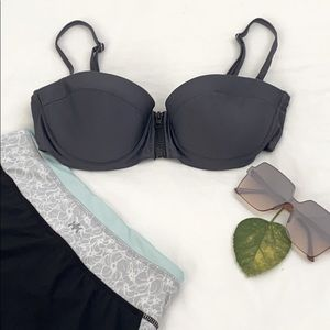 6 Shore road gray zippered bikini top